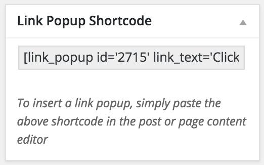 WP Popup Link Popup Shortcode Box