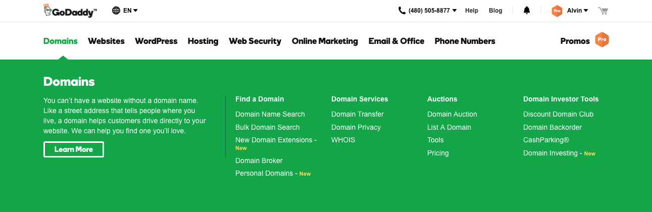 GoDaddy > Domains > Bulk Search Menu