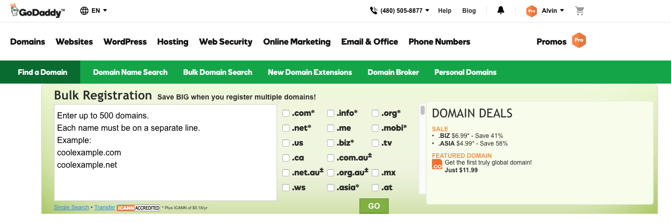 GoDaddy Domains > Bulk Search Entry
