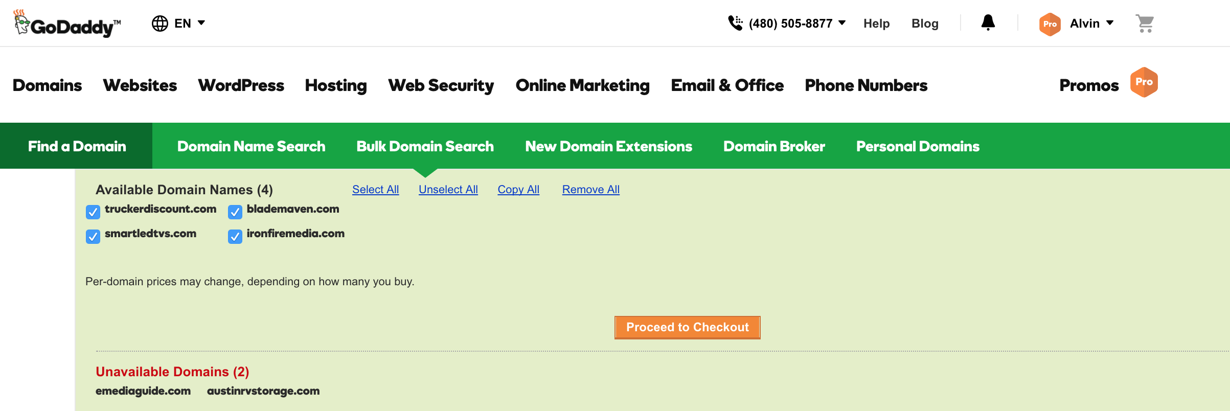 GoDaddy Domains > Bulk Search Results