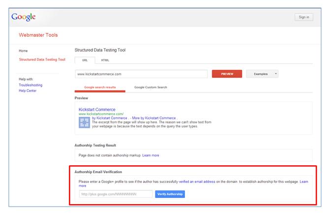 google webmaster authorship email verify