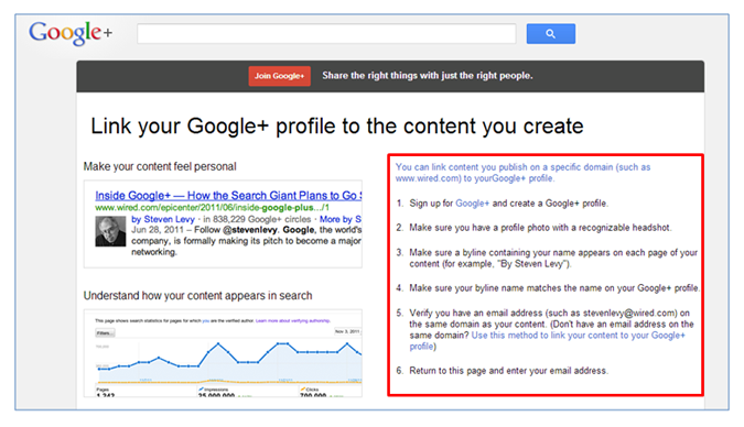 google authorship sign up page
