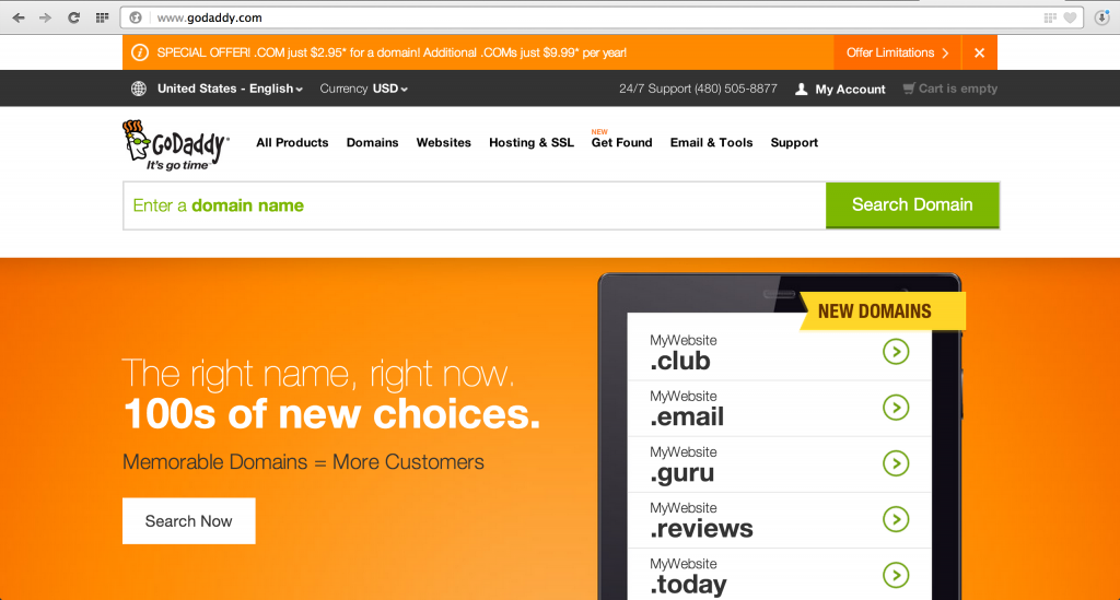 GoDaddy WIth A Fresh New Look Selling New Internet Domains (gtlds)