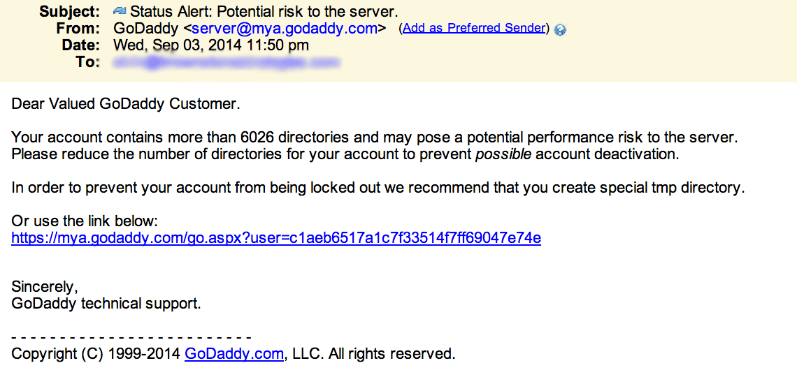 GoDaddy phishing email about potential risk to server.