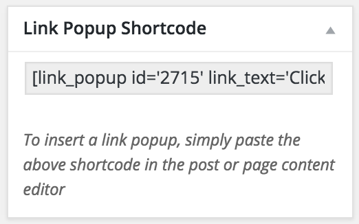 WP Popup Link Popup Shortcode Box