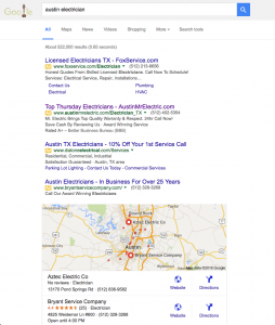 AustinMrElectric.com is ranked via PPC advertising