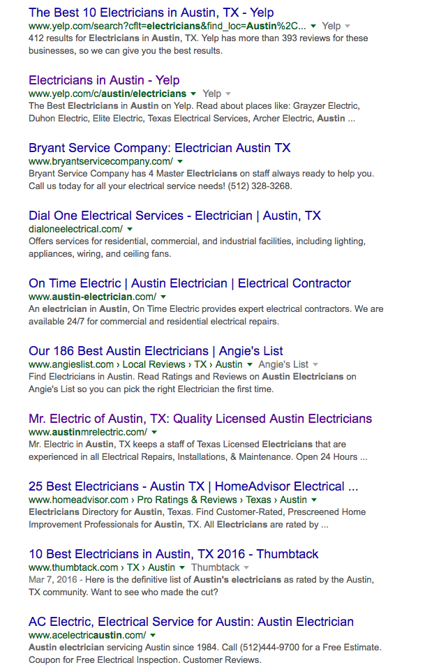austin electrician search results