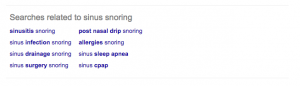Google Searches Related to Defensively Registering Domains for Sinus and Snoring