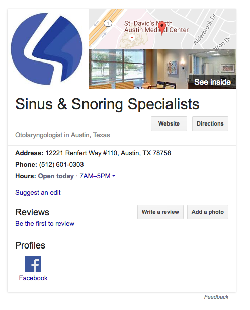 Sinus & Snoring Specialists Knowledge Graph Card