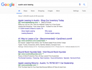Austin Auto Leasing with Google Ads Showing