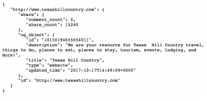 Facebook Graph API Response Data - Texas Hill Country URL