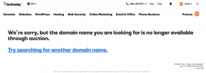 GoDaddy Aftermarket - Domain No Longer Exists