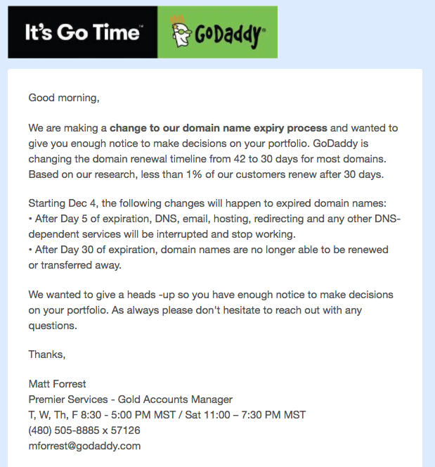 GoDaddy Proposes Domain Name Expiry Process Changes