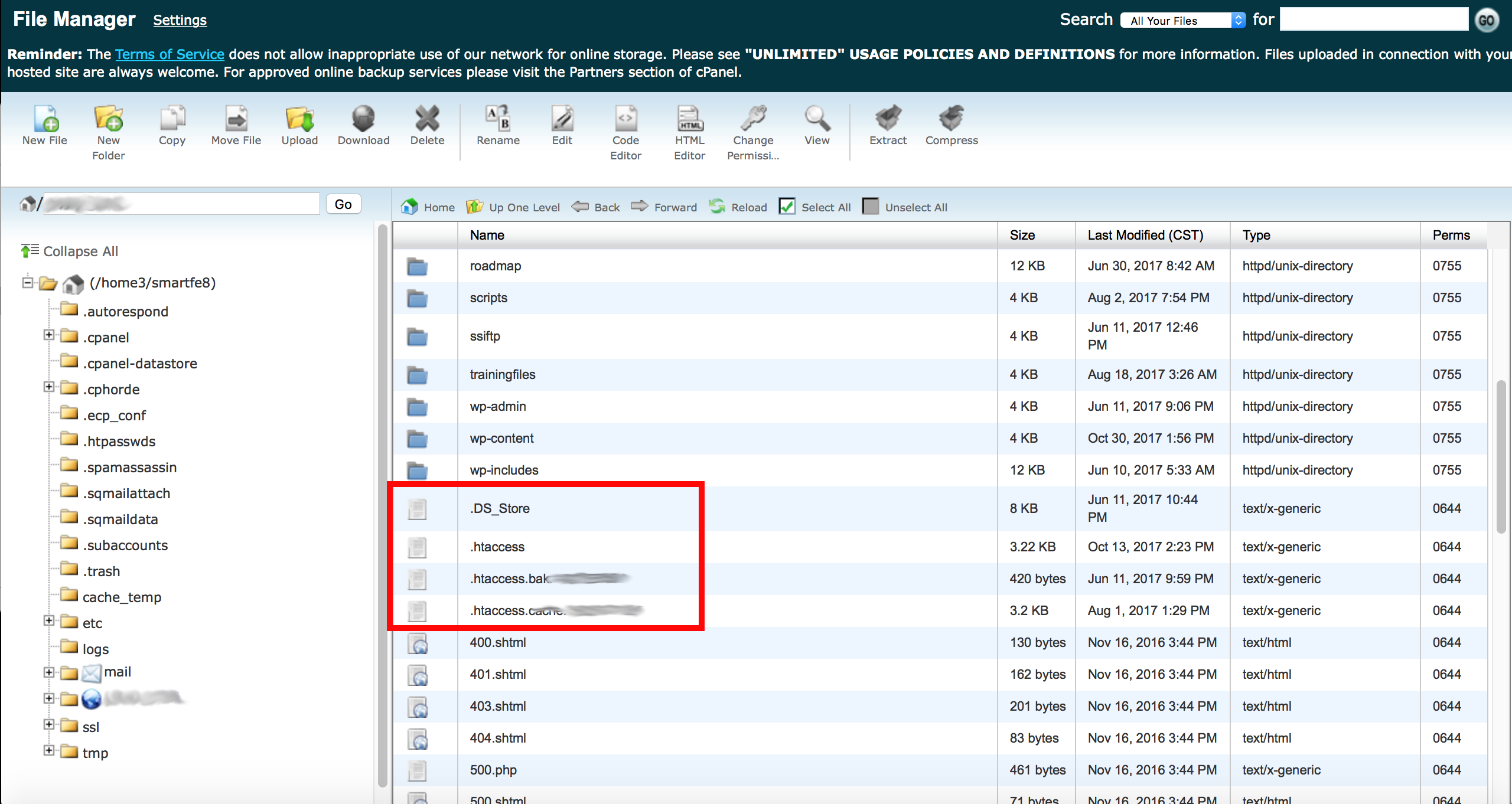 how to make hidden files visible in cpanel