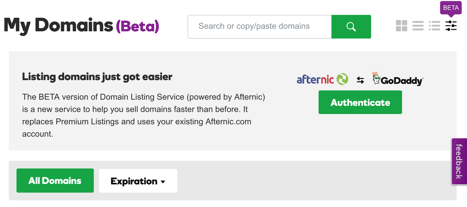 GoDaddy and Afternic Integrate With BETA Advanced List View