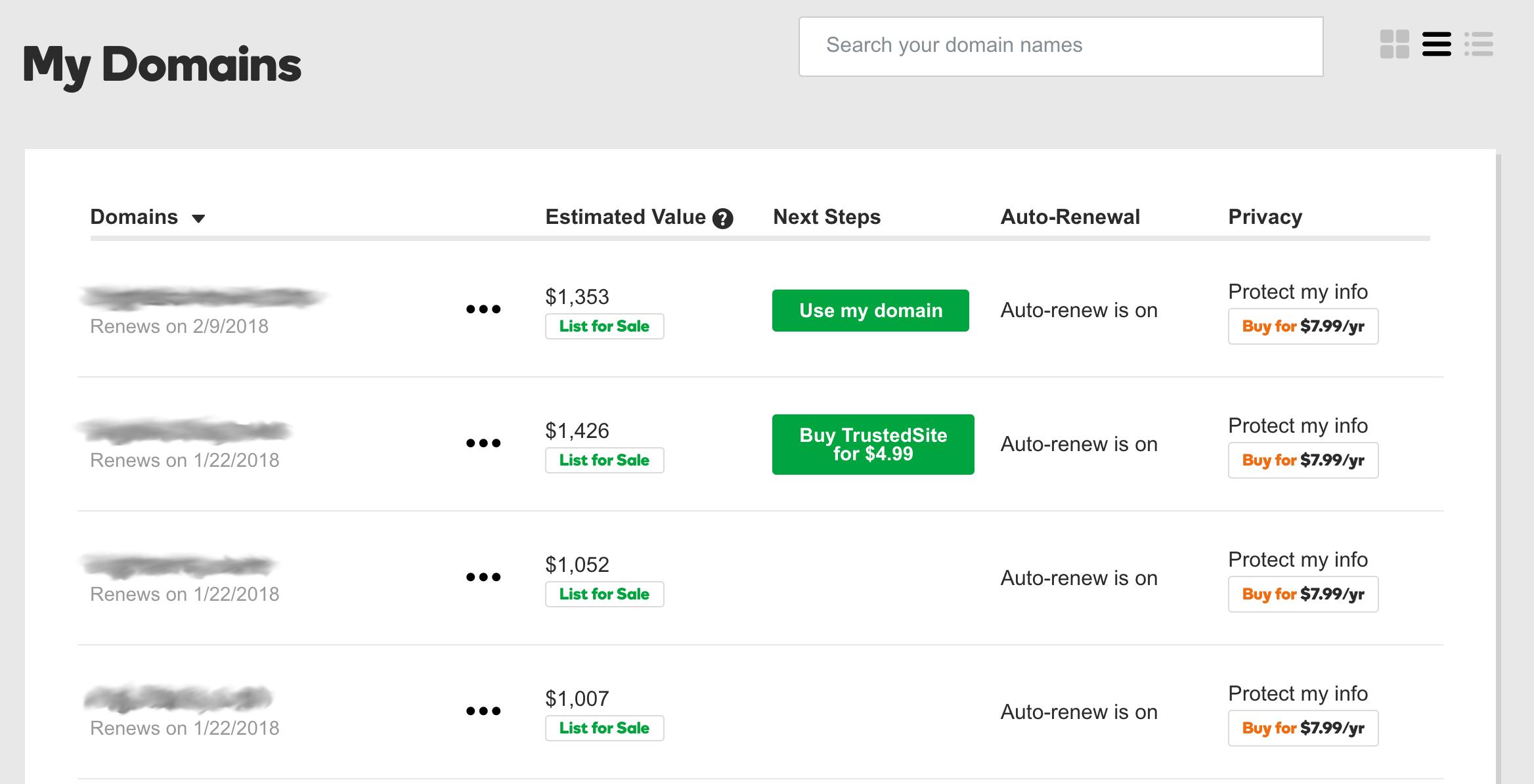 GoDaddy Applies Valuation Estimates to Your Domain Portfolio