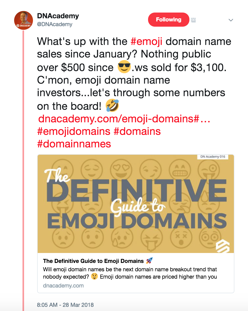 DNAcademy.com: The Definitive Guide to Emoji Domains.