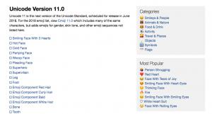 Emojipedia.org Search Engine Website - Unicode Version 11 Summary Page