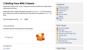 Emojipedia.org Search Engine Website - Smiling Face With Hearts