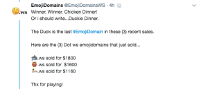 EmojiDomainsWS sells 3 emoji domains for $5.5K