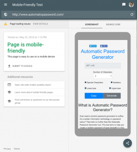AutomaticPassword.com Mobile Friendliness Results