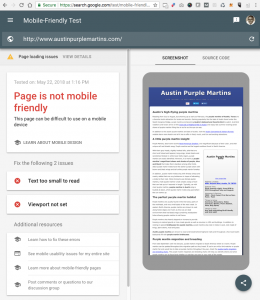 AustinPurpleMartins.com Mobile Friendliness Results