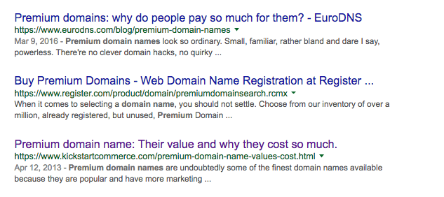 Google Search Results for Premium Domain Names