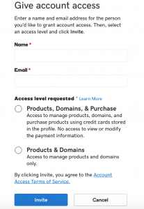 GoDaddy Give Account Access