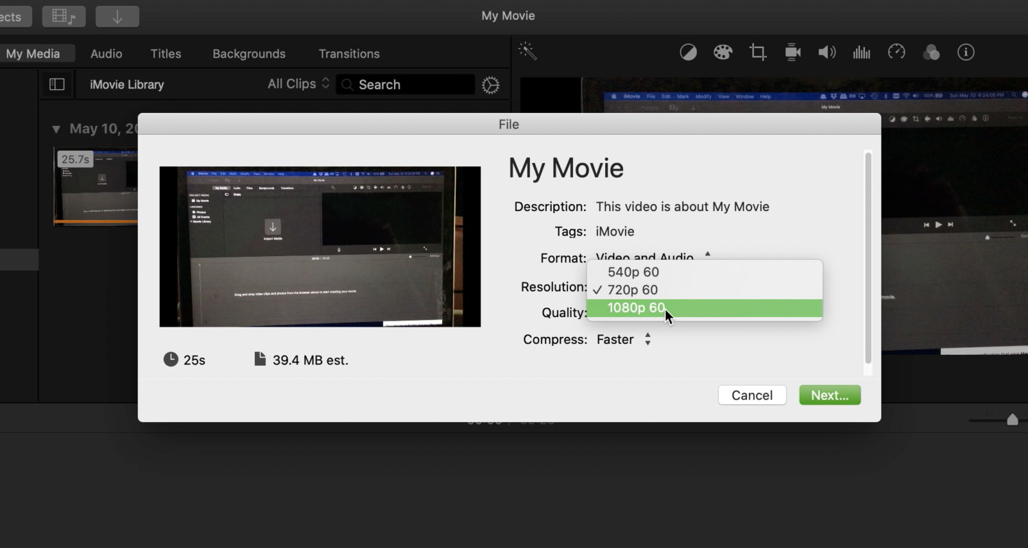 How to Export a 720p video as 1080p or 4K using iMovie